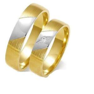 Eheringe Trauringe 585 er Gold Bicolor Massiv Gelb/Weissgold 5mm Breit ...