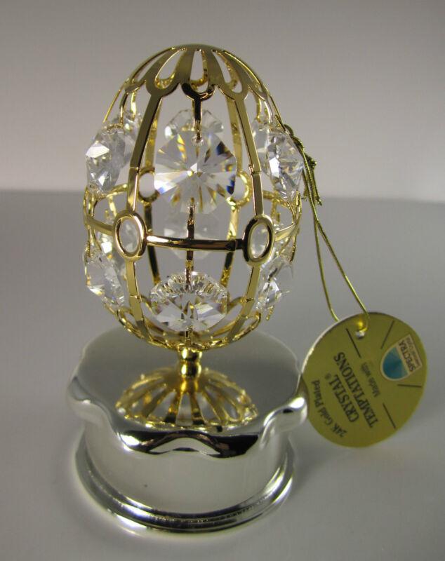 Ei mit Schmuckdose mit Swarowski Kristallen Bestückt Gold