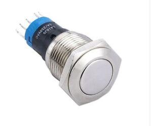 Einbauschalter-rastend-Taster-Druckschalter-16-mm-max-250V-3A-Edelstahl-Switch