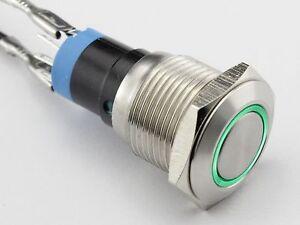 Einbauschalter-tastend-Taster-Druckschalter-16-mm-max-250V-3A-Edelstahl-LED