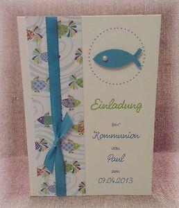 Einladung Einladungskarte Kommunion Konfirmation Fisch türkis ...