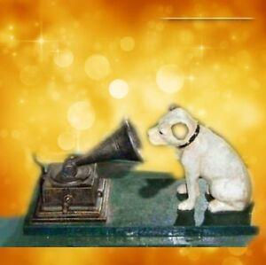 Eisen-Hund-HIS-MASTERS-VOICE-mit-Grammophon-antik-Vintage-Deko