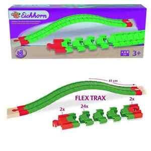 Eisenbahn-Holz-Eichhorn-Bahn-Flex-Trax-Gerade-Schienen-28-tlg-1405-Neu