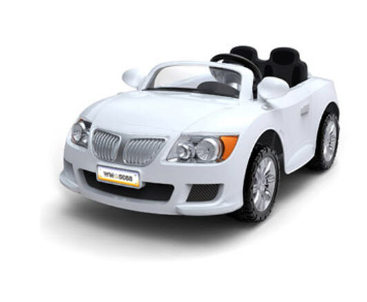 Electric Convertible Power White Race Car Kids Motorized Wheels Toy Ride on 12V