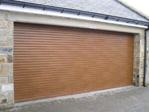 Electric remote controlled roller garage door golden oak for 14 foot garage door prices