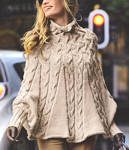 Aran Poncho With High Collar & Cuffs S--L Knitting Pattern NO CHARTS