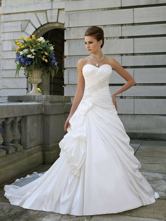 Elegant white ivory wedding dress bridal gowns glove stock for Ebay wedding dresses size 12