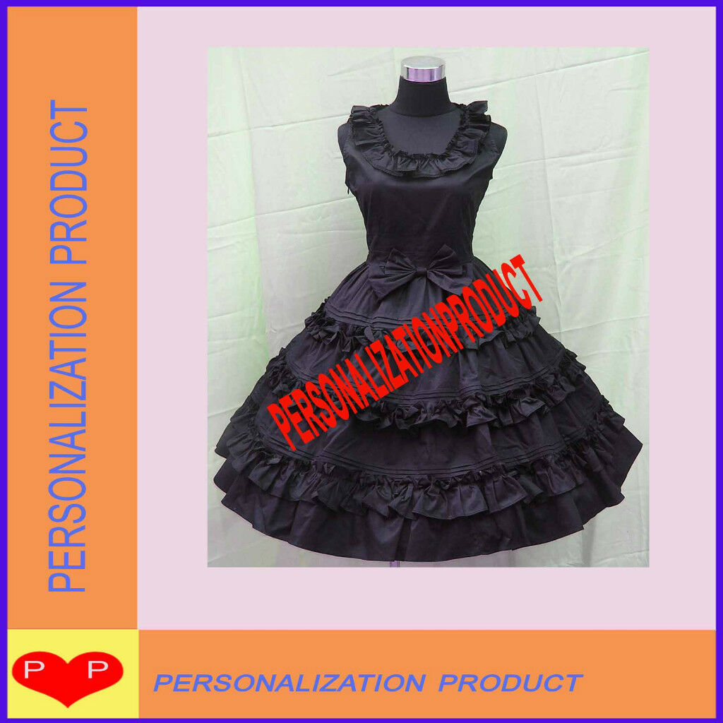 Southern Belle Fancy bow Lace Black Cosplay Knee Length Dress