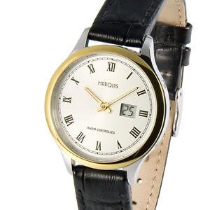 Elegante-Bicolor-Damen-Funkuhr-deutsches-Funkwerk-Armbanduhr-Leder-983-4914