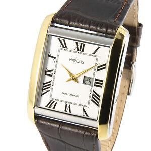 Elegante-Bicolor-Funkuhr-Junghans-Uhrwerk-Armbanduhr-Edelstahl-Leder-964-4813