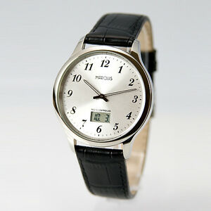 Elegante-Herren-Funk-Armbanduhr-deutsches-Funkwerk-Edelstahl-Leder-964-4716-78