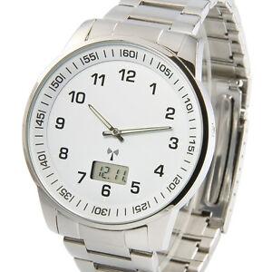 Elegante-Herren-Funkuhr-Armbanduhr-Junghans-Uhrwerk-Edelstahl-Funk-964-6008