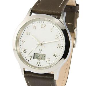 Elegante-Herren-Funkuhr-Junghans-Uhrwerk-Armbanduhr-Braunes-Leder-964-6903