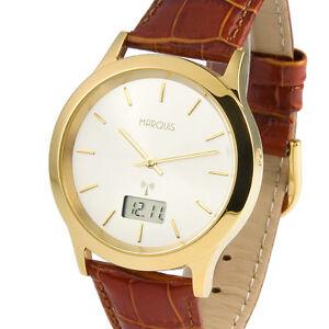 Elegante-Herren-Funkuhr-Junghans-Uhrwerk-Armbanduhr-Lederarmband-964-6002