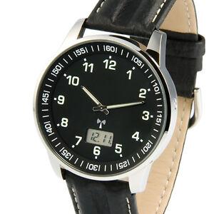 Elegante-Herren-Funkuhr-Junghans-Uhrwerk-Armbanduhr-Lederarmband-964-6907