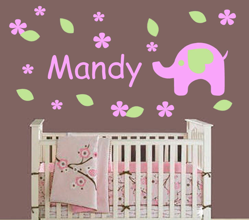 Elephant wall decal baby nursery decor personalized great for Elephant mural nursery