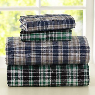Elite Home Winter Nights Cotton Flannel Sheet Set, QUEEN, Blue Plaid in Home & Garden, Bedding, Sheets & Pillowcases | eBay