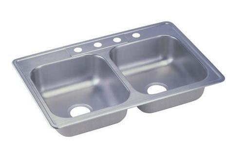 Elkay 33 x 22 x 6 inch drop in double bowl stainless steel kitchen sink 23 gauge ebay - American made stainless steel sinks ...
