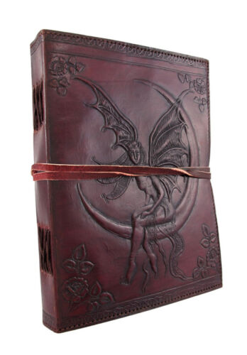 Embossed Leather Crescent Moon Fairy 136 Leaf Diary Journal in Books, Accessories, Blank Diaries & Journals | eBay