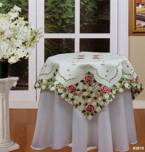 "Embroidered Rose Daisy Floral Cutwork Beige Tablecloth 33x33"" Square #3819 in Collectibles, Linens & Textiles (1930-Now), Table Linens 