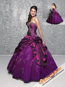 Embroidery Purple Wedding Dress Bridesmaid Bridal Gowns Stock SZ 6 8