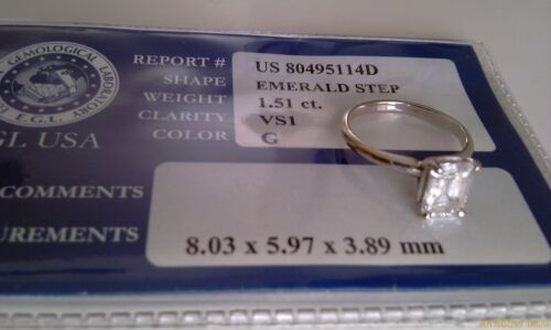 Emerald Step 1.51ct white gold engagement ring, VS1 G color in Jewelry & Watches, Engagement & Wedding, Engagement Rings | eBay