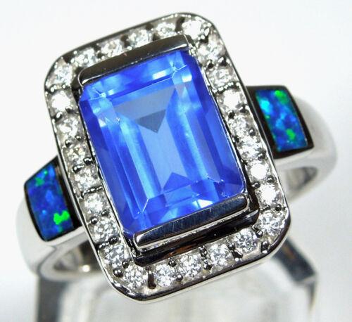 Emerald cut Tanzanite & Blue Fire Opal Inlay 925 Sterling Silver Ring 6 7 8 9 in Jewelry & Watches, Fine Jewelry, Fine Rings | eBay