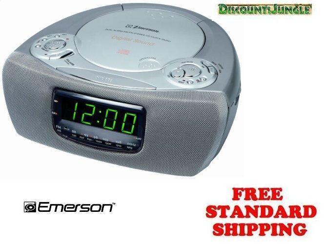 emerson ckd9905 ckd 9905 dual alarm clock radio cd player silver. Black Bedroom Furniture Sets. Home Design Ideas