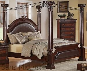 Empire Queen Poster Canopy Bed with Padded Leather ...