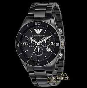 emporio armani ceramica herren uhr ar1421 keramik chrono schwarz neu ovp ebay. Black Bedroom Furniture Sets. Home Design Ideas
