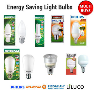 Energy Saving Light Bulb B22 E27 E14 Gx53 Lamps Sylvania Philips Multi Pack Ebay