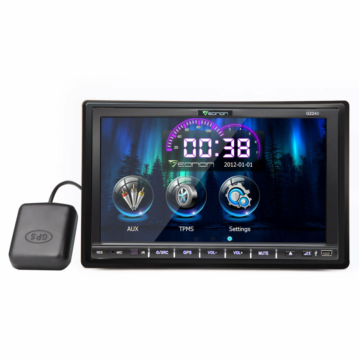 """Eonon 7""""Double 2 DIN in Dash Car GPS Navigation iPod Bluetooth DVD Player US Map"""