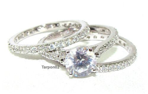 Epiphany Diamonique Eternity Wedding Bridal 3 Pcs Ring Set