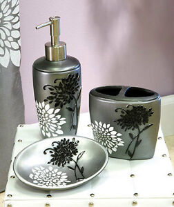 Erica flower floral black white gray cermic bathroom for Floral bathroom accessories set