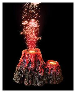 Erupting volcano with led aquarium bubbler ornament fish for Aquarium volcano decoration
