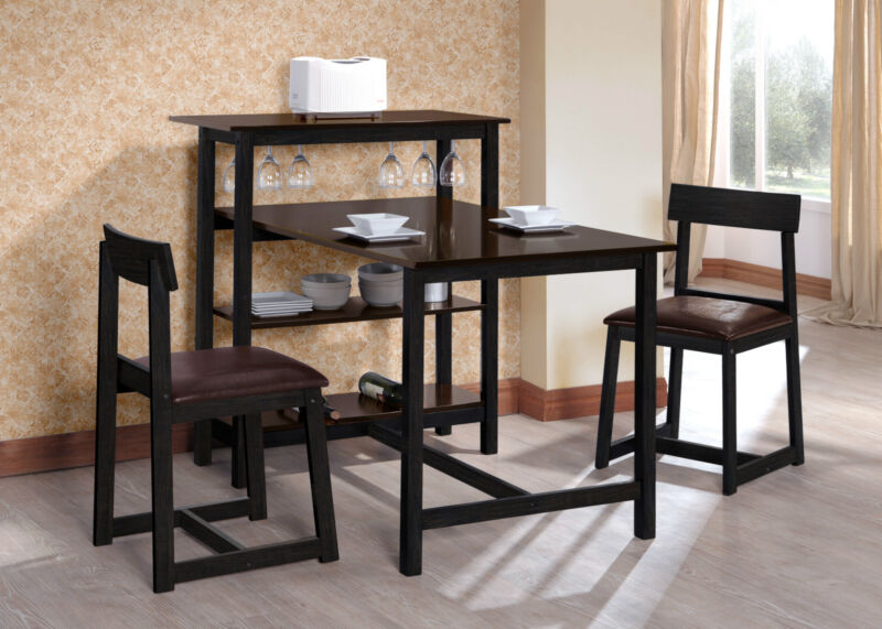 kitchen table with wine rack