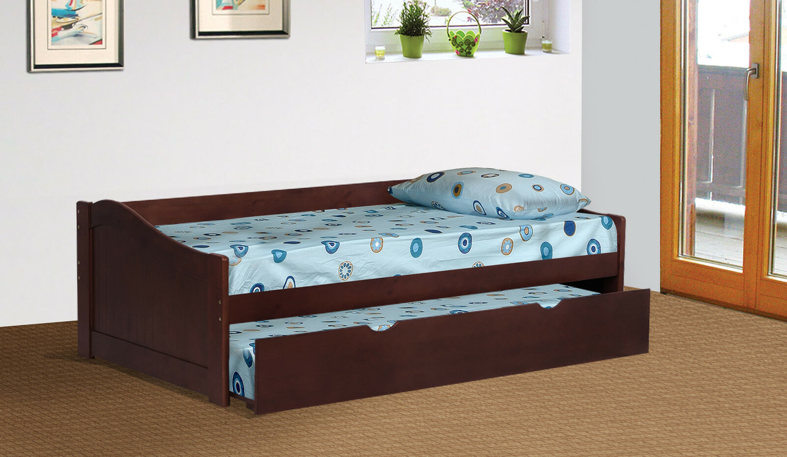 Espresso finish wood twin size day bed daybed with for Beds with trundle