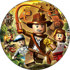 Essbarer-Tortenaufleger-Lego-Indiana-Jones-Film-Deko-backen-Tortenbild-DVD