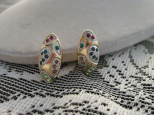 Estate-Costume-Jewel-Tone-Multi-Color-2-Tone-Clip-Earrings-with-Rhinestones