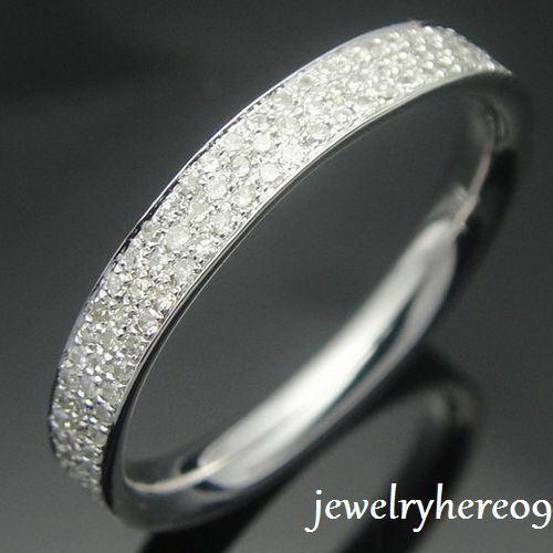 Eternity Band Three MILGRAIN Pave Diamond Solid 14K White Gold Wedding Ring band in Jewelry & Watches, Engagement & Wedding, Engagement Rings | eBay