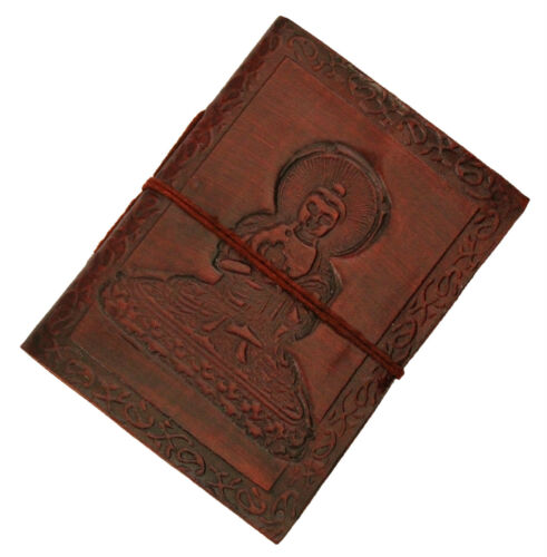 Ethnic Beautiful Buddha in Meditation Handmade Tri-fold Embossed Leather Journal in Books, Accessories, Blank Diaries & Journals | eBay