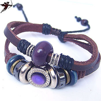 Ethnic tribal leather wristband bracelet purple fixtures handcraft Dan Cupid in Jewellery & Watches, Ethnic & Tribal Jewellery, Asian | eBay