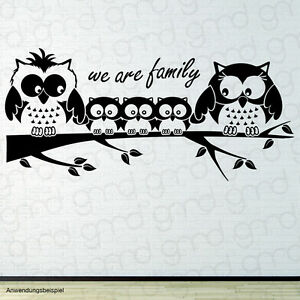 Eulen familie mit 3 kindern owl family 3 kids wandtattoo - Wandtattoo family ...