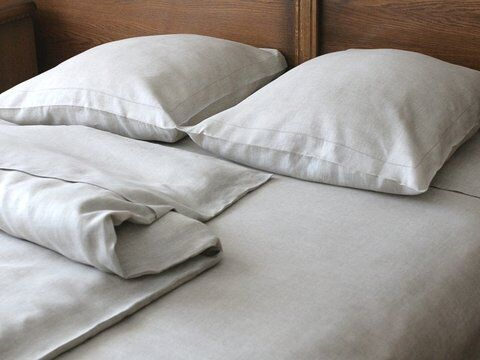 European pure linen sheet set (flat, fitted, 2 cases) 100% organic natural flax in Home & Garden, Bedding, Sheets & Pillowcases | eBay