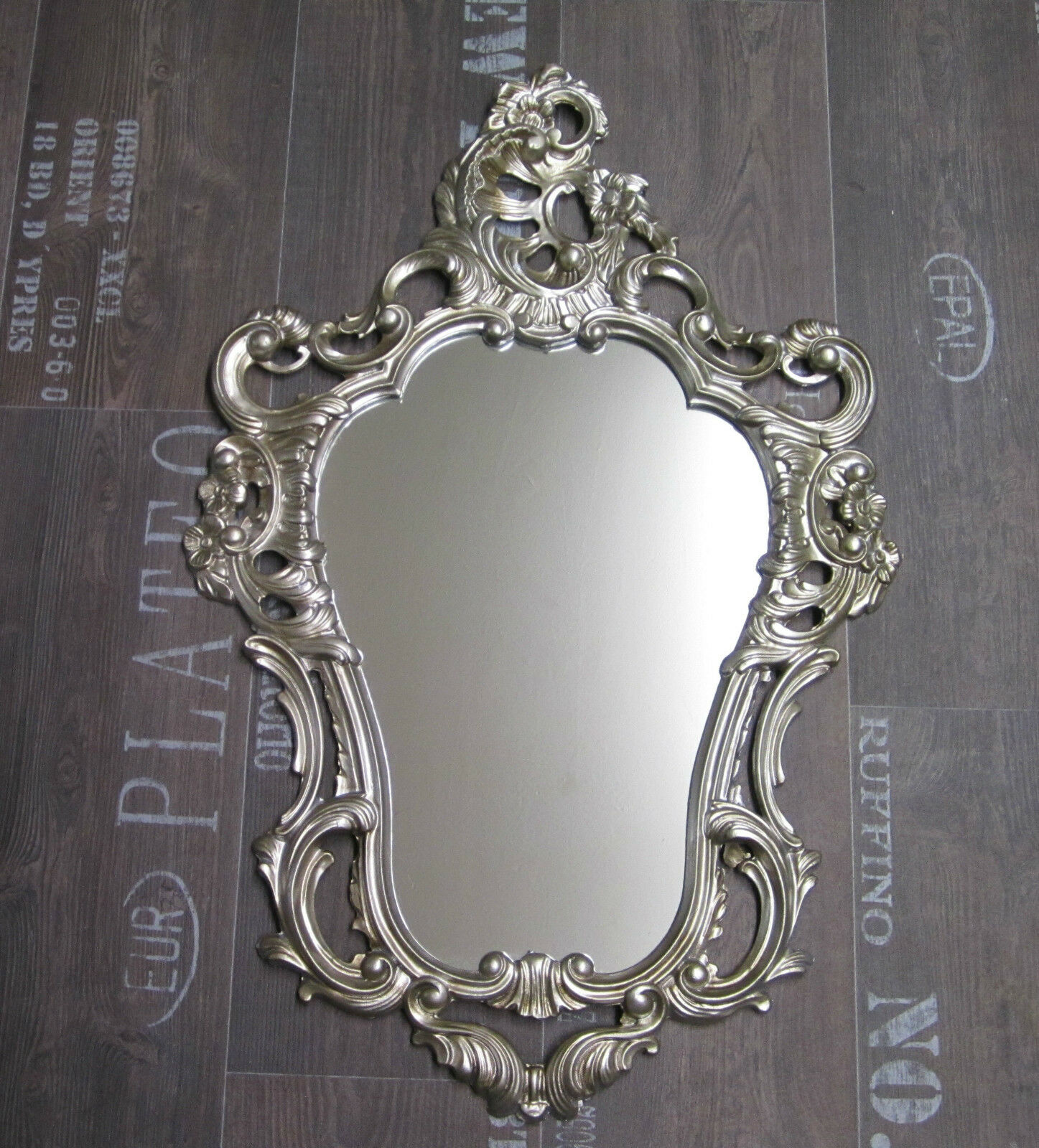 Antique wall mirror baroque gilt white black silver ornate for Plastic baroque mirror
