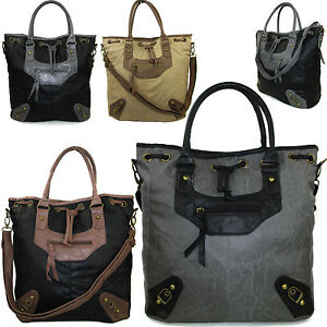 Extra Large Ladies Faux Leather Shoulder Bag Designer Duffle Tote Hobo NEW A4