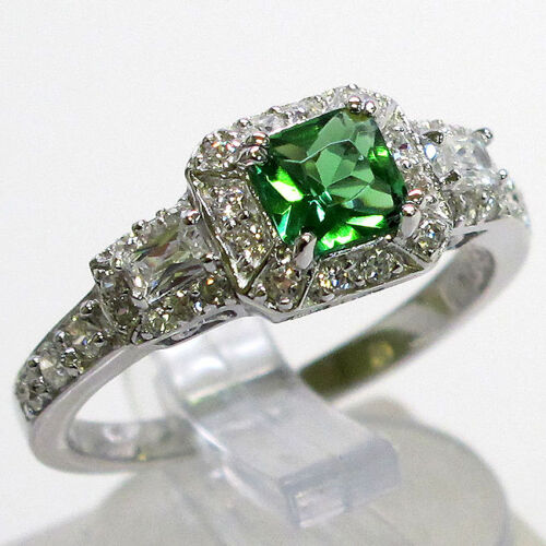 FABULOUS EMERALD 925 STERLING SILVER MICRO PAVE RING SIZE 7 in Jewelry & Watches, Fine Jewelry, Fine Rings | eBay