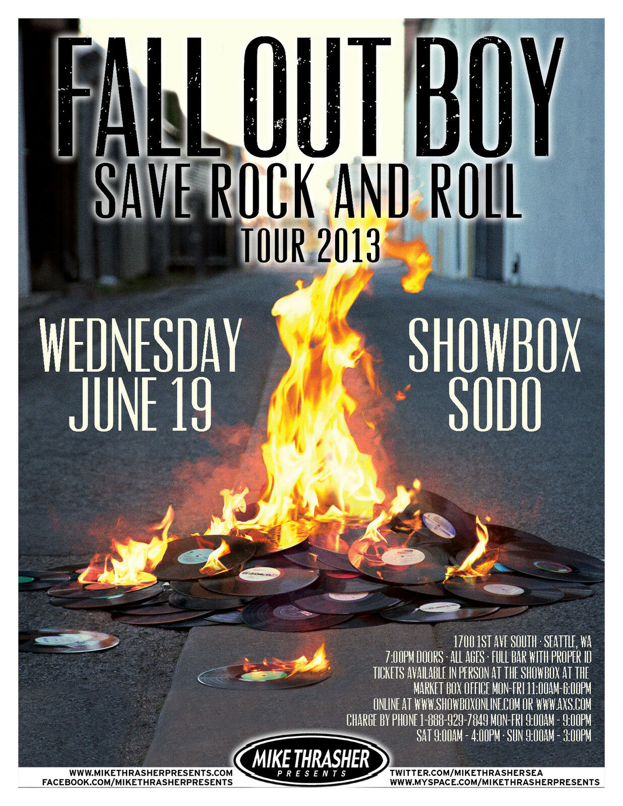 fall out boy save rock and roll tour 2013 seattle concert poster pop punk ebay. Black Bedroom Furniture Sets. Home Design Ideas