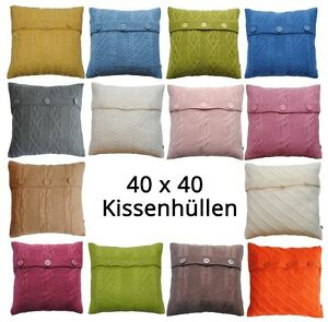 family kissenh llen kissenbez ge 40x40 cm strickmuster ebay. Black Bedroom Furniture Sets. Home Design Ideas
