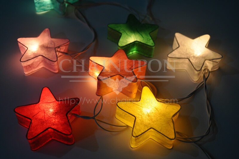 fancy star paper lantern string party patio fairy decor gift kid bedroom lights ebay. Black Bedroom Furniture Sets. Home Design Ideas